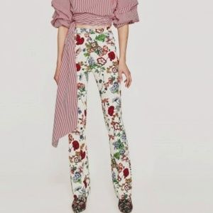 Zara pants Flare XS high waist flower print nwt